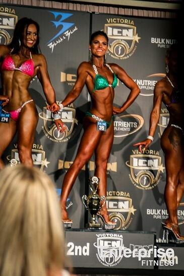 Emily Whitham ICN Rookie Show Rising Star iCompete Natural Bodybuilding Winner Comp Prep Coach Melbourne Nathan Madder Body Transformation Fitness Model Coach Contest Preparation